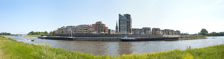 ijssel: Panoramic view of the city of Doesburg, an ancient Hanse town in the Netherlands, near the IJssel and from accross the river IJssel on june 4, 2011 Stock Photo