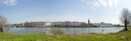 ijssel: Panoramic view of the city Zutphen, an ancient Hanse town in the Netherlands, near the IJssel and from accross the river IJssel on april 7, 2010