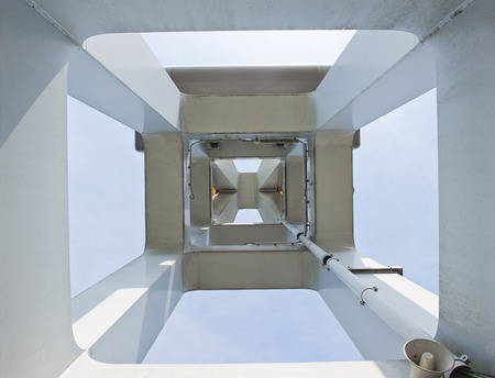pivotal: Bearer of the IJssel drawbridge at the city of Kampen in the Netherlands, from a central pivotal view upwards, on april 24, 2010