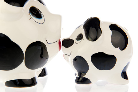 Two money saving pigs, mother and baby in black and white cow print, nose to nose kissing each other photo