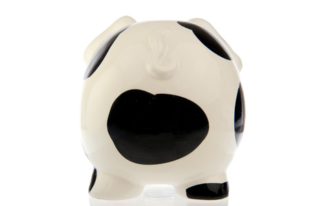 rear end: Pig with black and white cow spots and tail, from the rear end, isolated in white background