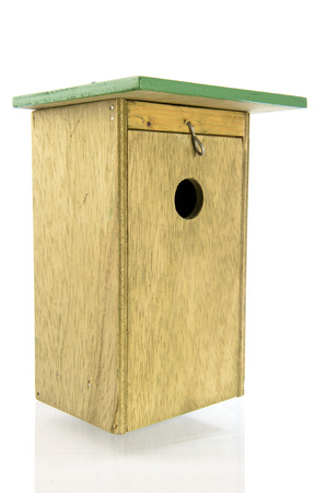 Side front view of handmade wooden nesting box photo