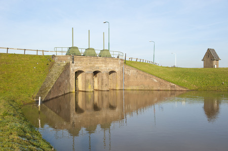 inflow: Stronghold in waterway, the inlet of the river Rhine at Wijk bij Duurstede, the Netherlands