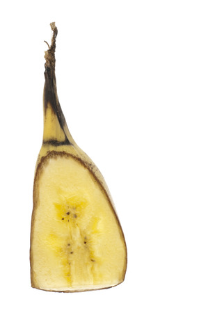 cut through: A cnunk of banana cut through the length with them and isolated in white