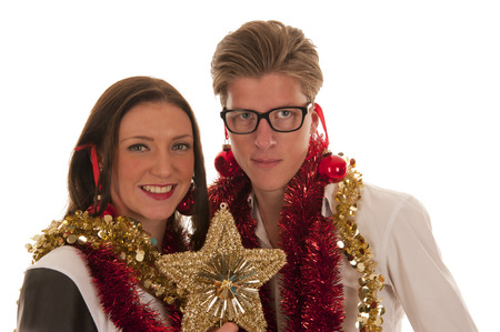 happy boy and girl smiling with x-mas decoration photo