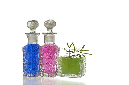 spunky: Pink, blue and green crystal glass carafe with decorative facet structure