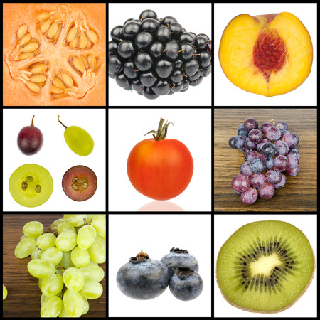 Collage of seasonal fruit in close up isolated in white and separated with black strips photo