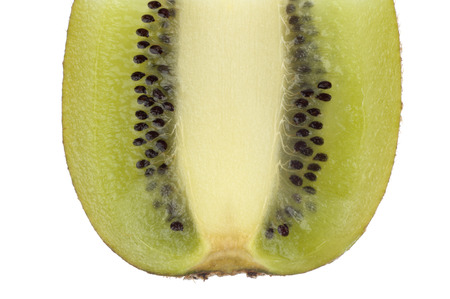 A slice of kiwi with its core pits isolated in white background photo