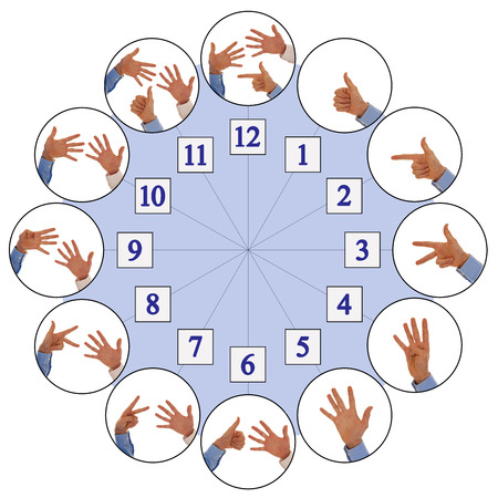 Hand signs counting up from one to twelve representing numbers of analog clock photo