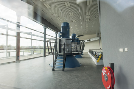 engine room: Engine room of pumping station with with four turbine generators
