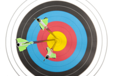 bulls eye: The bulls eye of an archery target hit by three arrows in short dept of field