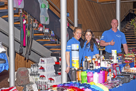 schiedam: Lobby of the treatre at the 38th Dutch National Championship Bodybuilding and Fitness f the IFBB Netherlands (NBBF) on april 26, 2015 in Theatre aan de Schie at Schiedam, the Netherlands. Various shops and stands sell their merchandise. Editorial