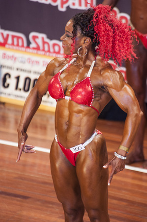 schiedam: SCHIEDAM, THE NETHERLANDS - APRIL 26, 2015: Female bikini models Lisandra Chacon show her best at the 38th Dutch National Championship Bodybuilding and Fitness of the IFBB Netherlands (NBBF) on april 26, 2015 in Theatre aan de Schie at Schiedam, the Net