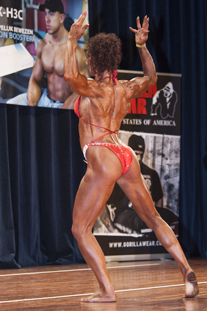 schiedam: SCHIEDAM, THE NETHERLANDS - APRIL 26, 2015: Female bikini fitness and physique model Naima Benamari shows her best back double biceps pose at the 38th Dutch National Championship Bodybuilding and Fitness of the IFBB Netherlands (NBBF) on april 26, 2015 in