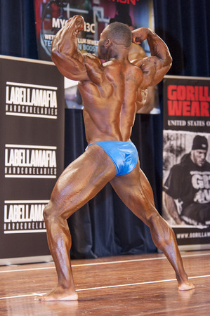 schiedam: SCHIEDAM, THE NETHERLANDS - APRIL 26, 2015. Male bodybuilder Michael Muzo shows his best back double biceps at the 38th Dutch National Championship Bodybuilding and Fitness of the IFBB Netherlands (NBBF) on april 26, 2015 in Theatre aan de Schie at Schi