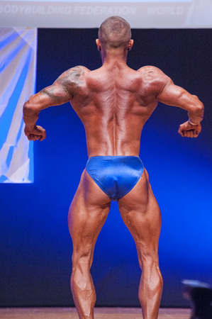 nether: MAASTRICHT, THE NETHERLANDS - OCTOBER 25, 2015: Male bodybuilder Dennis Theys flexes his muscles and shows his best back pose at the World Grandprix Bodybuilding and Fitness of the WBBF-WFF on October 25, 2015 at the MECC Theatre in Maastricht, the Nether
