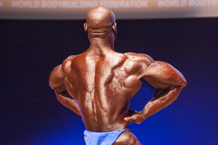 lats: MAASTRICHT, THE NETHERLANDS - OCTOBER 25, 2015: Male bodybuilder Elias Bogane flexes his muscles and shows his best physique in a lats spread pose on stage at the World Grandprix Bodybuilding and Fitness of the WBBF-WFF on October 25, 2015 at the MECC The