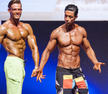 physique: MAASTRICHT, THE NETHERLANDS - OCTOBER 25, 2015: Male physique models Ali Dalili from Iran and others show their best front pose at championship on stage at the World Grandprix Bodybuilding and Fitness of the WBBF-WFF on October 25, 2015 at the MECC Theatr