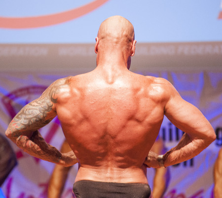 MAASTRICHT, THE NETHERLANDS - OCTOBER 25, 2015: Male bodybuilder Erik Stobbe flexes his muscles and shows his best physique in a lats spread pose on stage at the World Grandprix Bodybuilding and Fitness of the WBBF-WFF on October 25, 2015 at the MECC Thea Editorial
