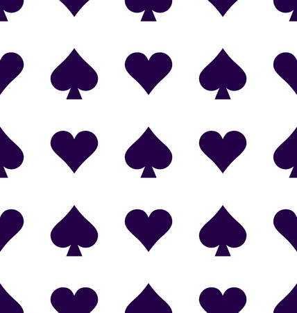 Vector seamless patterns with icons of playings cards. Spades. Casino game background,