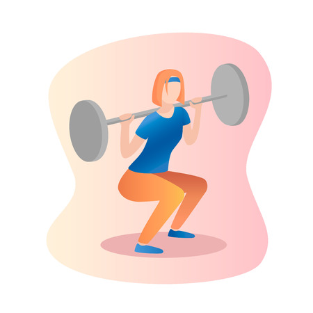 Fitness concept illustration of woman . Barbell Squat women. Fitness and yoga girl icons isolated on white background.Flat design.