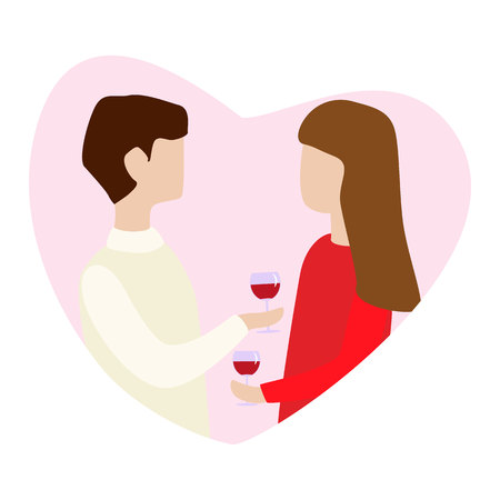 Couple in love holding mugs in hand and talk. Vector illustration for Valentine s day greeting card