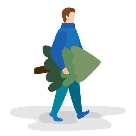 young man carries a Christmas tree. Flat vector illustration