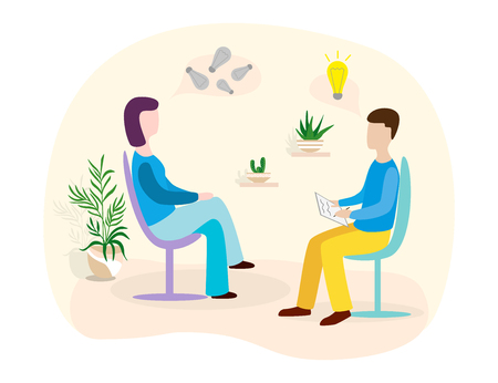 Patients at a reception at the psychotherapies. Woman talking to psychotherapist or psychologist and answer questions.