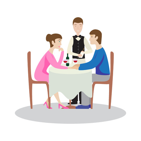 Romantic family dinner in a restaurant. Valentines dinner. Flat vector illustration