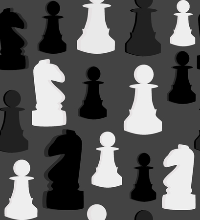 Seamless vector pattern with chess on grey background