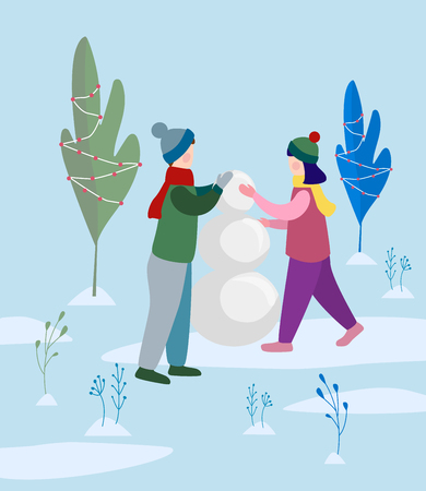 boy and girl making snowman in the park. Flat vector illustration Vector Illustratie