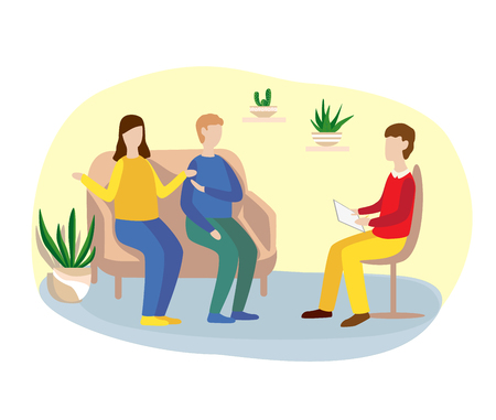 family counseling with a psychologist. psychotherapy. flat vector illustration