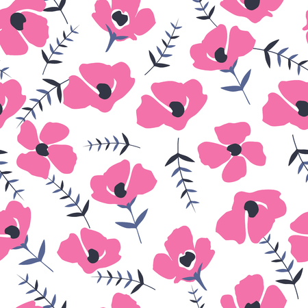 Cute Floral pattern in the small flower. Seamless vector texture. Elegant template for fashion prints. Printing with very small pink flowers. White background.