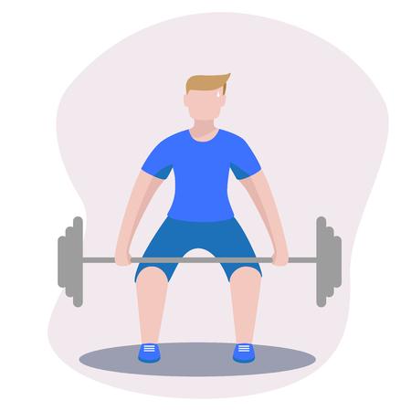 bodybuilder with barbell, deadlift vector image Ilustração