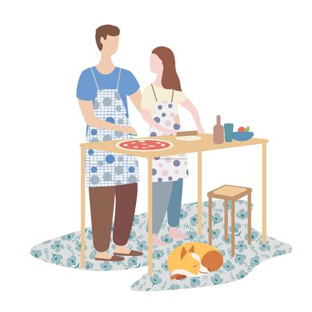 donna e uomo che cucinano la pizza insieme. cucina familiare, weekend, atmosfera casalinga. Illustrazione vettoriale piatta Vettoriali