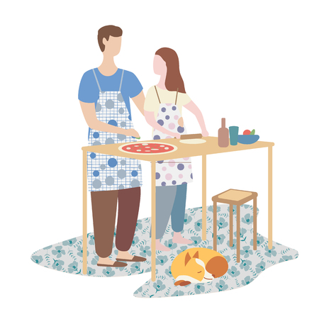 woman and man cooking pizza together. family cooking, weekend, home atmosphere. Flat vector illustration Ilustração Vetorial
