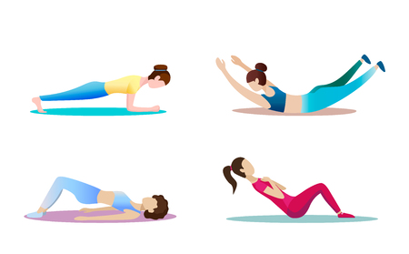 Fitness concept illustration of woman. Fitness and yoga girl icons isolated on white background. Flat design. Minimal design.  イラスト・ベクター素材