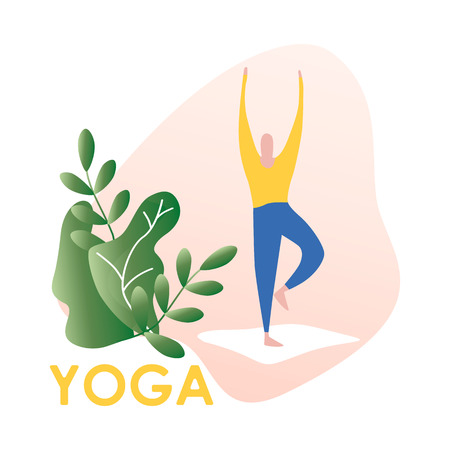 Vector illustration of man doing office yoga. morning work-out. Concept of meditation. Modern vector illustration.  イラスト・ベクター素材
