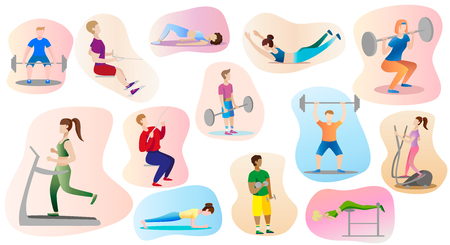 men and women are engaged weightlifting in the gym. Set. Vector illustration.