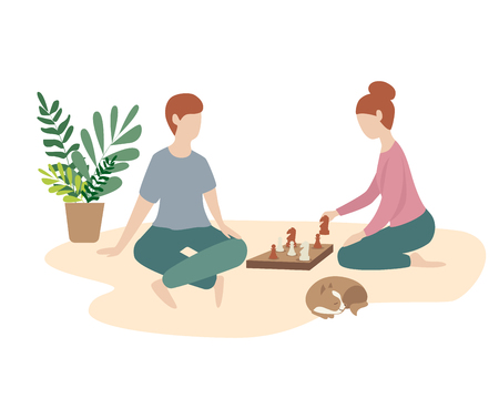 woman and man play chess together. family game, weekend, home atmosphere. Flat illustration  イラスト・ベクター素材