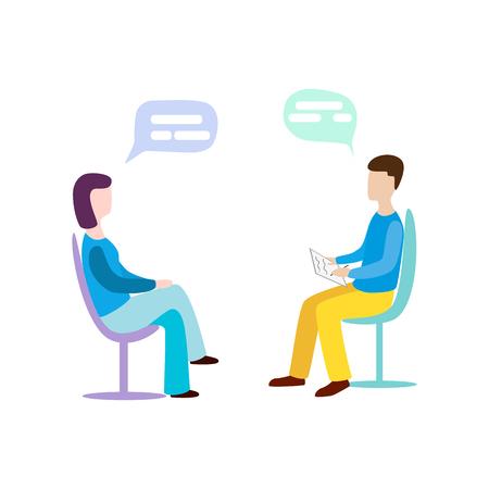Woman talking to psychotherapist or psychologist and answer questions. Psychotherapy. Psychologist Illustration