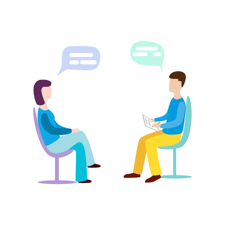 Woman talking to psychotherapist or psychologist and answer questions. Psychotherapy. Psychologist  イラスト・ベクター素材