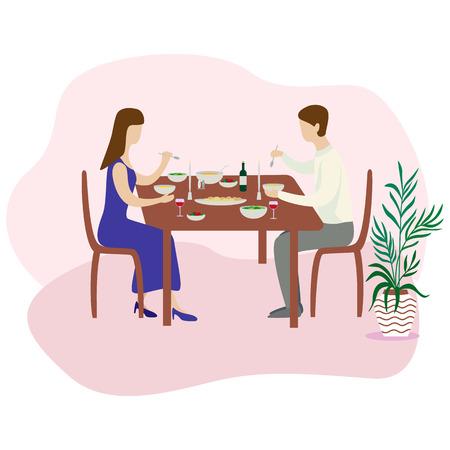 Romantic family dinner. Valentines dinner. Flat vector illustration