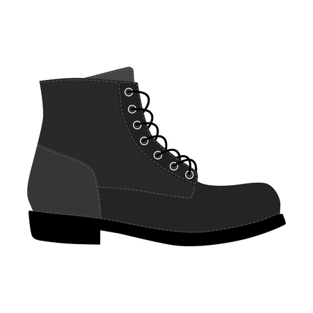 Men shoes brogue trim platform brutus boots isolated. Male man season lace-up shoes icons. Footwear vector illustration