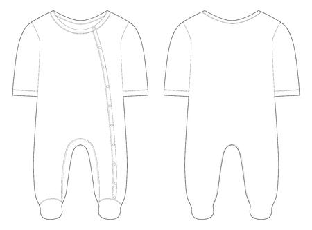 Nachtwäsche für Babys und Mädchen. Technische Zeichnung. Vektor-Illustration