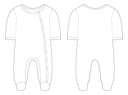 Sleepwear for baby boys and girls. Technical drawing. Vector illustration