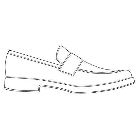 Men shoes isolated. Classic loafers. Male man season shoes icons. Technical drawing footwear vector illustration