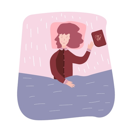 Woman sleeping and dream. Girl fell asleep reading books. Vector illustration on white background