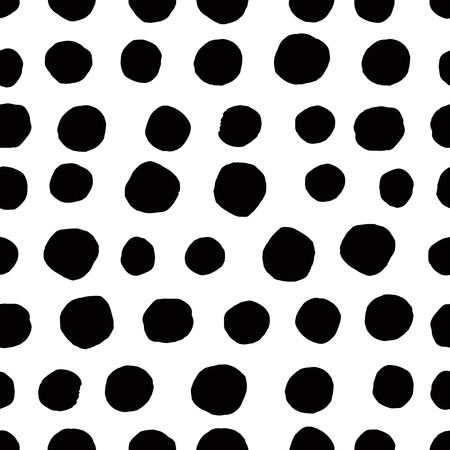 Circles seamless pattern. Retro hand drawn circles ornament. Polka dot pattern. Round shapes. Grunge painted ornament on white background. Vector illustration