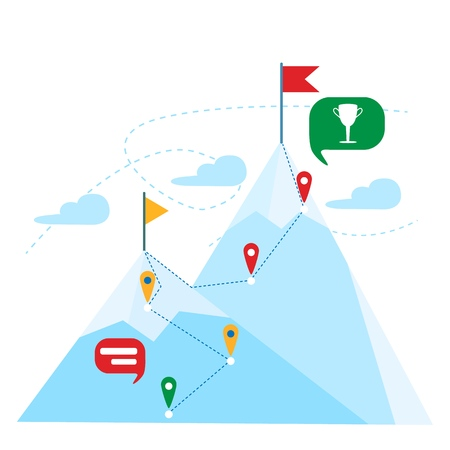 Top of the mountain with red flag. Business leadership success concept. Mountain landscape. Gps navigation. Vector illustration.